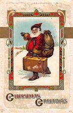 Christmas Postcard Santa Claus Carrying a Suitcase Through the Snow~108420