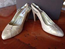Jones Bootmaker gold leather snake print slingback court shoes UK 4 EU 37 BNIB