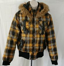 Girls Hooded Jacket Southpole Yellow Black Plaid Faux Fur Coat Large Juniors