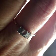 ULTRA Rare 100% Natural Alexandrite 3 Stone Ring Sterling Silver 0.60cts N / O