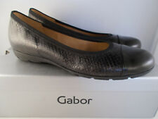 Gabor Black Leather Boa Brush Metallic Flats 54.161.69 Women's Shoes Sz 7 US NIB
