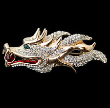 Schöne große Brosche Chinesischer Drache, goldfarben, österreichische Kristalle