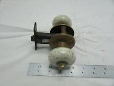 Vtg Antique Prouty's Rigid Door Knob Set Brass White Porcelain Push Button