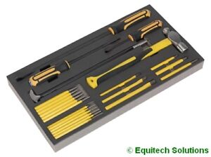 Sealey (Siegen) S01131 Tool Chest Tray Prybar Hammer Chisel & Punch Set 23-Pc