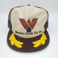 VTG 80s Trucker Mesh Snapback Hat - Brown Western Crude Oil Cap - Semco USA Made