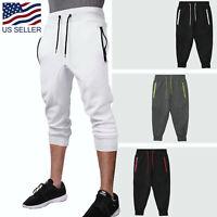 Mens Jogger Shorts With Zipper Pockets Soft Knit Lounge CAPRI Fleece Pants Gym