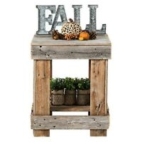 Rustic Farmhouse Square Sofa Side Table Living Room Lamp Decor Vase Stand Brown