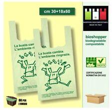 100 SHOPPERS BIODEGRADABILI COMPOSTABILI MAXI 30x60 da grammi 13 BUSTE A NORMA