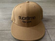 Supreme New York Classic New Era Hat 7 5/8 Brown Beige Cap Rare Vtg LA NYC Japan