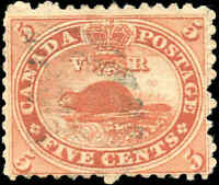 1859 Used Canada 5c VG-F Scott #15 Beaver First Cents Stamp