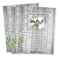 Boy Baby Shower Invitations Rustic Woodland Fox With Envelopes Set Of 20