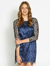 Ladies Navy Blue Lace Dotti 3/4 Sleeve Shift Dress Size 14 RRP $89.95