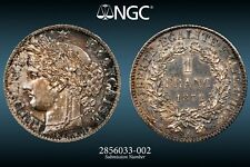1872 K France 1 One Franc - Scarce Large K Variety - Certified NGC MS61
