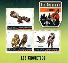 Madagascar 2016 neuf sans charnière scouts & nature hiboux 3v m/s scouting birds of prey stamps