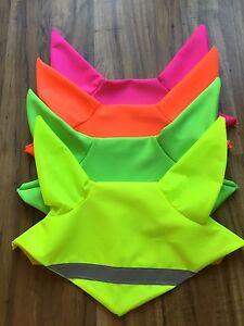 Fluorescent hi viz ear bonnet fly veil