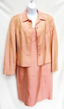 ANN TAYLOR Womens Salmon Mother of Bride Silk Dress Blazer Jacket Suit Outfit 6