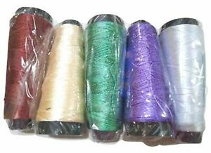 Rayon Thread Embroidery Crochet Knitting Art Silk Craft Pack Of 5 Multicolor