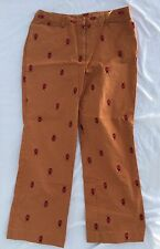 Lilly Pulitzer Ladies Pants Size 10 White Label Brown w/ Embroidered Ladybugs!!