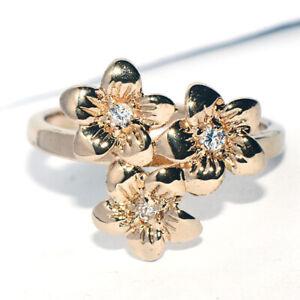 Vintage 9K Gold Filled Crystal CZ Flower Ring for Womens Female Size 6
