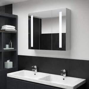 Armadietto Bagno con Specchio e LED 3 Ante Bianco Moderno