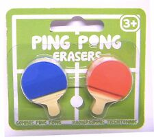 Novelty Erasers Ping Pong 2pc Bat Set Stationery Rubbers Stocking Filler