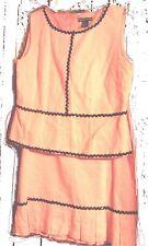 Nicole Studio Pink Suit Peplum Top and Skirt Set w/Black Beaded RicRac NWT Sz 16