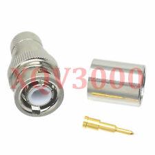 2pcs Connector BNC male plug pin crimp for RG8 LMR400 RG213 RG165 RG393 COAXIAL