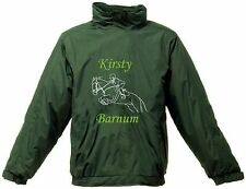 PERSONALISED PRINTED HORSE SHOW JUMPING REGATTA RIDING JACKET WATERPROOF HOOD