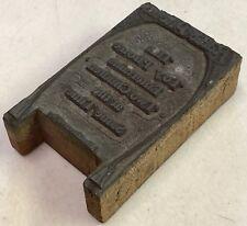 Antique c1915 Wood Printers Block Copper Engraving Stamp Radio Phone Child Toy