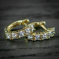 1.20ct Round Cut Diamond Hoop Earrings Solid 14K Yellow Gold Finish For Womens