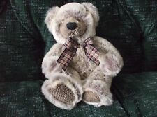 """9"""" Russ Berrie light brown teddy bear with plaid bow"""