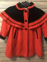 Girls toddler size 5 Rothschild 100% wool velvet red black lined winter coat