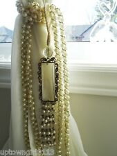 CURTAIN TIEBACK PRISMS rhinestones FAUX PEARLS beaded Metal TASSEL girlie FANCY