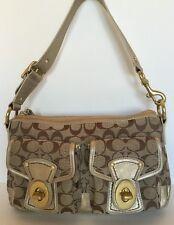 Coach F12869 Signature Legacy Satchel Handbag Khaki & Gold Leather Size MD