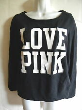 PINK BY VICTORIA SECRET BLACK / WHITE LETTERS SWEATSHIRT  WOMENS SIZE X SMALL