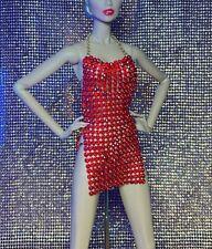 Fashion Royalty Barbie Handmade Rhinestone Mesh Dress For Dolls
