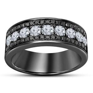 Men's Black Gold Finish 3 Row Round Black & White Diamond Engagement Band Ring