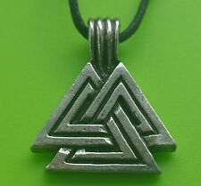 Pewter Viking Large VALKNUT Odin Amulet Pendant Cord Necklace Handcrafted Asgard