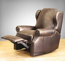 New Barcalounger Bristol II Wall Hugger Leather Recliner Chair Stetson Bordeaux