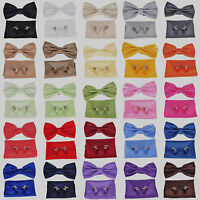 New Mens Tuxedo Silk Pre-Tied Bowtie+Hanky+Cufflinks Sets Checks Wedding Bow Tie