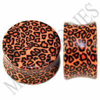 "0198 Double Flare Acrylic Leopard Cheetah Print Saddle Ear Plugs 3/4"" Inch 20mm"