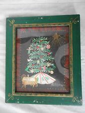 Adele Schluge folk art watercolor Christ child by Christmas tree 1989