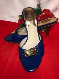 Michael Kors Women Blue Patent leather Slip in heel Sandals. Sz-7M. China.