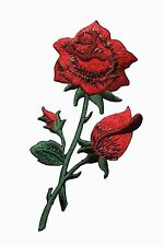 "#5062 4 5/8""H Red Rose Flower Embroidery Iron On Applique Patch"