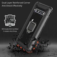 For LG V60 ThinQ Shockproof Hybrid Rubber Ring Holder Kickstand Hard Case Cover