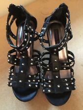 New Black Wedge Bling Sandals size 8