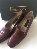 Cole Haan Clarissa Womens Career Shoes Slip On Block Heel Brown Leather EUC 8B
