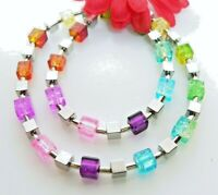 Halskette Würfelkette Kette Glas bunt multicolor mehrfarbig crash silber 069b