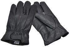 Men's Large Black Real Leather Gloves with Velcro Fastening