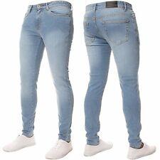 New ENZO Mens Super Skinny Stretch Comfort Denim Jeans All Sizes Black Grey Blue